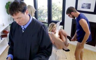 Sinful blonde Haley Reed gets her shaved cunt filled with a dick